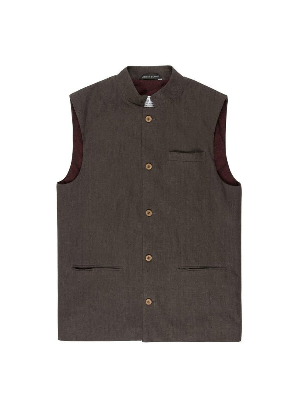 3b66ed5f962f The 'Nehru' is a mandarin-style jacket made popular by India's first Prime  Minister, Jawaharlal Nehru. This linen waistcoat version is a statement  piece for ...