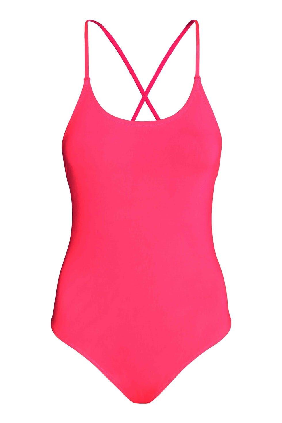 e7b9cef849 Keep it simple in this straightforward one-piece. Traditional cut, but an  eye-popping shade of pink.