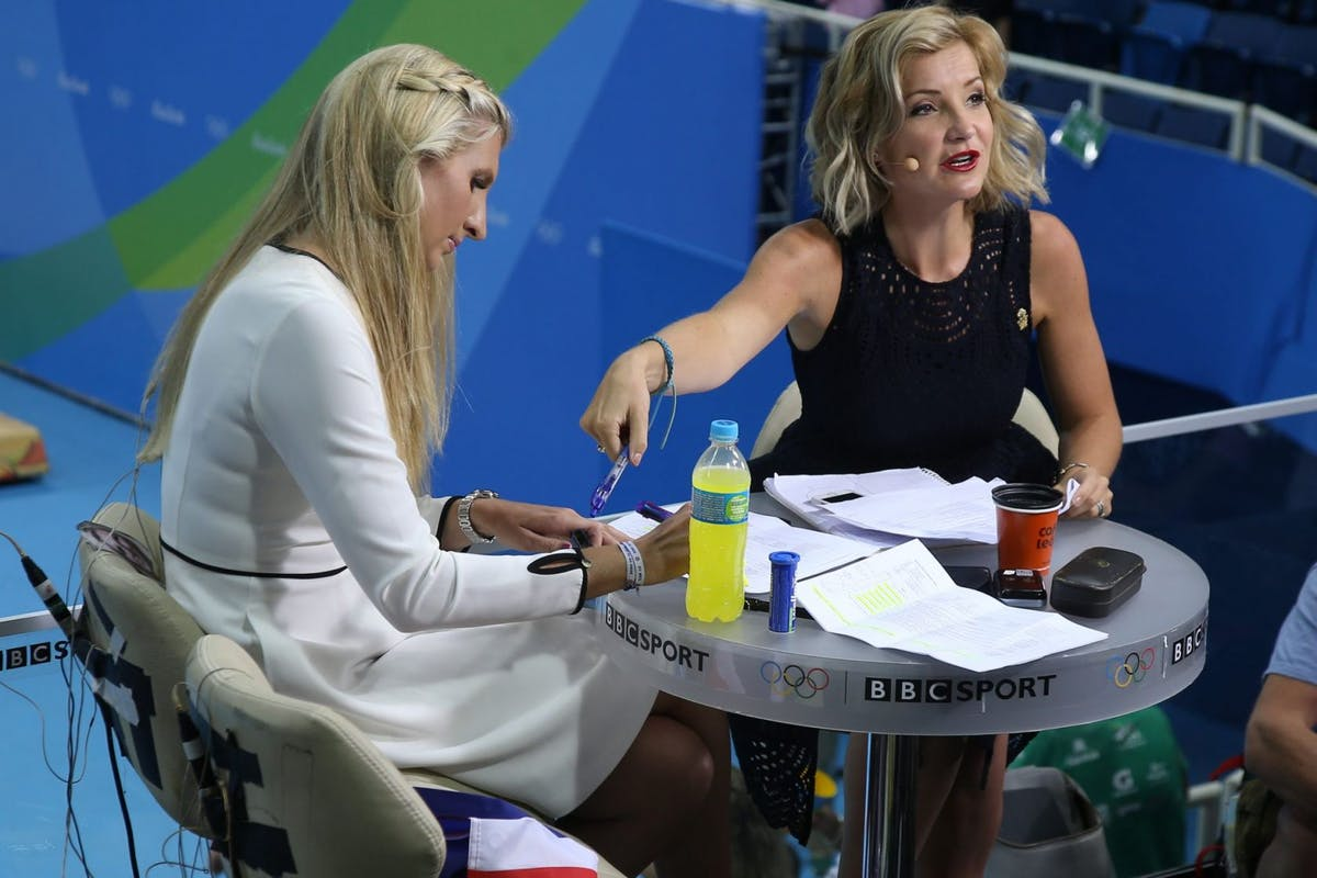 RIO DE JANEIRO, BRAZIL - AUGUST 13: Rebecca Adlington and Helen Skelton comment for BBC Sport the swimming competition on day 8 of the Rio 2016 Olympic Games at Olympic Aquatics Stadium on August 13, 2016 in Rio de Janeiro, Brazil. (Photo by Jean Catuffe/Getty Images)