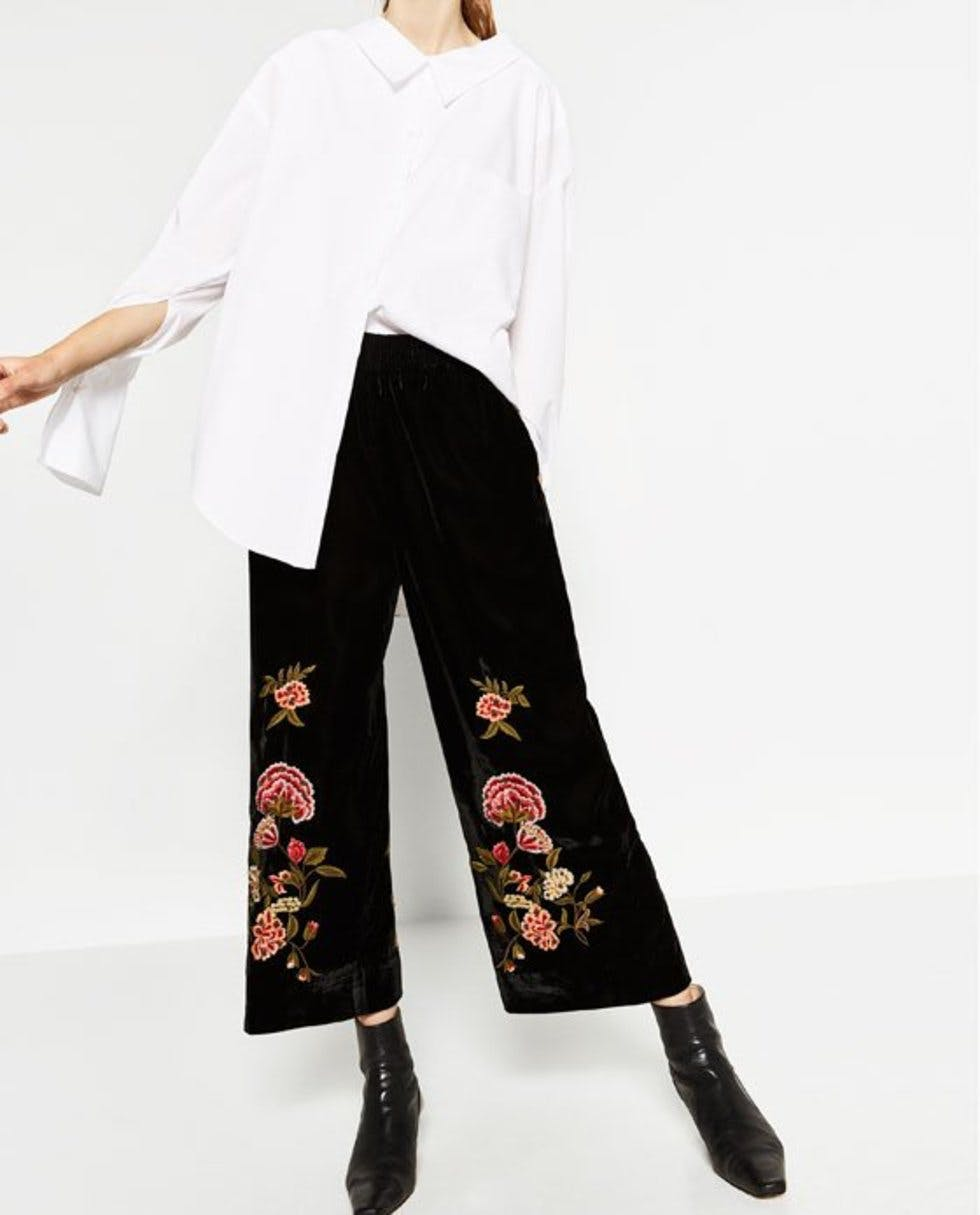 ddf2c5a9 Tap into the boho trend with these subtly embroidered long culottes  (£69.99, Zara).
