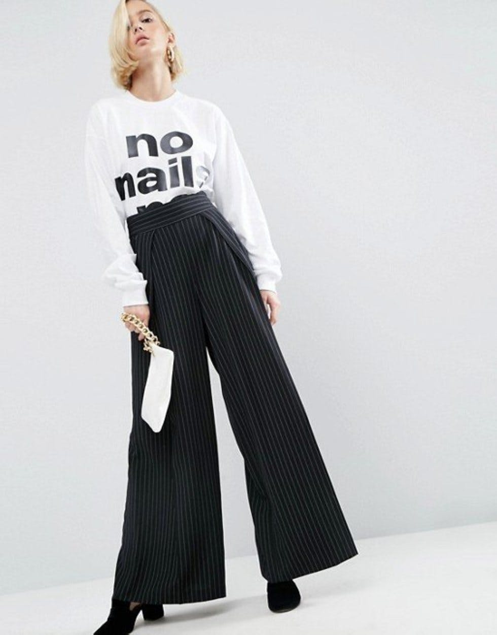 3df7b1ae One of our favourite fashion collaborations of the year has to be Wah  London x Asos – the jewel in the crown being these high-waist pinstripe  trousers (£55, ...