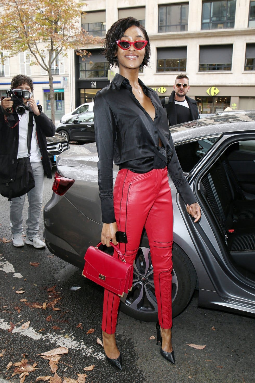 06b726b120f3e Not one for the faint-hearted, red leather trousers pack a serious  sartorial punch. Pair with a black shirt and heels à la Jourdan Dunn for  maximum impact, ...
