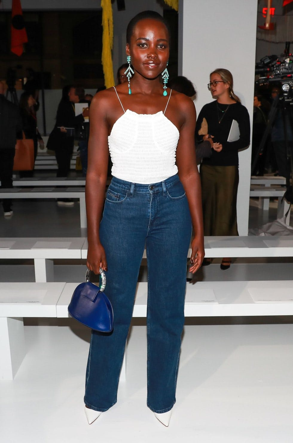 828f15cf9edb Update your denim for the new season with a pair of high-waisted, straight  leg jeans. A camisole top and statement earrings will take the look from  day to ...