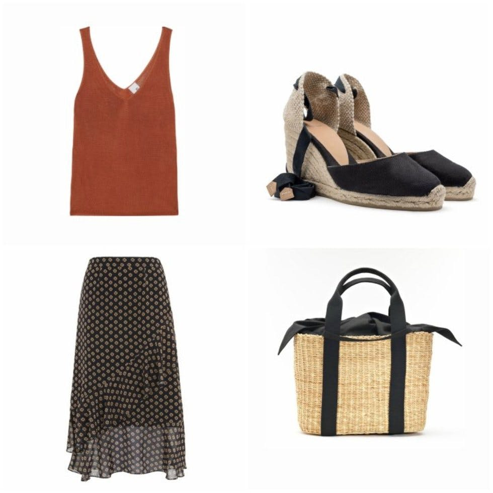 727b592de6d Tank top, £40, Iris and Ink; tiered print skirt, £129, Whistles; wedge  espadrilles, £75, Castaner; straw bag with cotton pouch, £131.44, Muuñ.