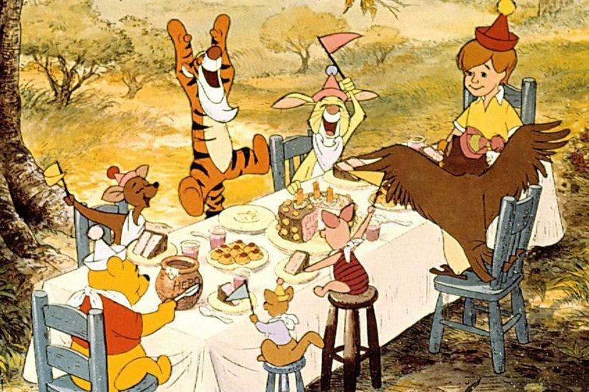 Winnie the Pooh and friends having a party