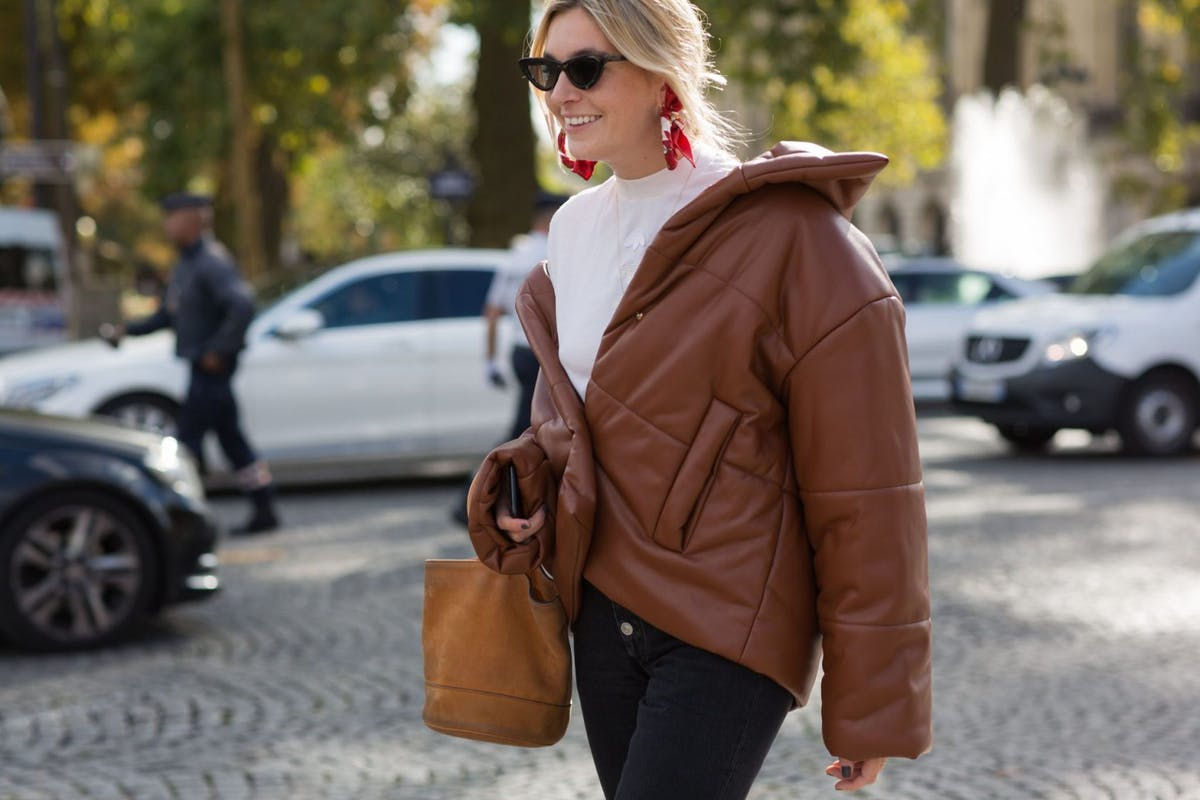 Camille Charriere wearing a puffer jacket