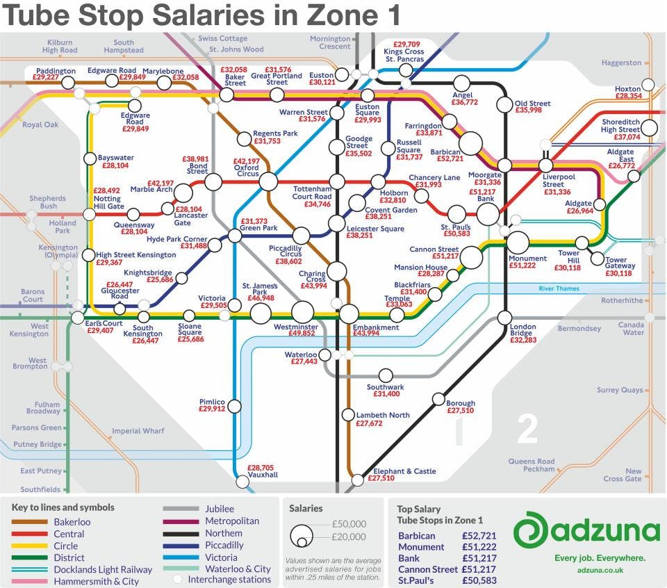 London Map Areas.Tube Map Reveals Average Salary Near Each Underground Station