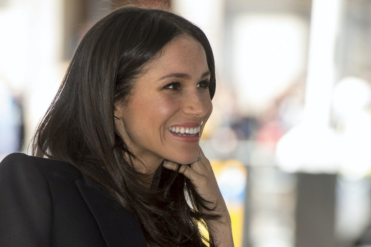 LONDON, ENGLAND - APRIL 18: Meghan Markle attends a reception with delegates from the Commonwealth Youth Forum during the Commonwealth Heads of Government Meeting at Queen Elizabeth II Conference Centre on April 18, 2018 in London, England. (Photo by Mark Cuthbert/UK Press via Getty Images)