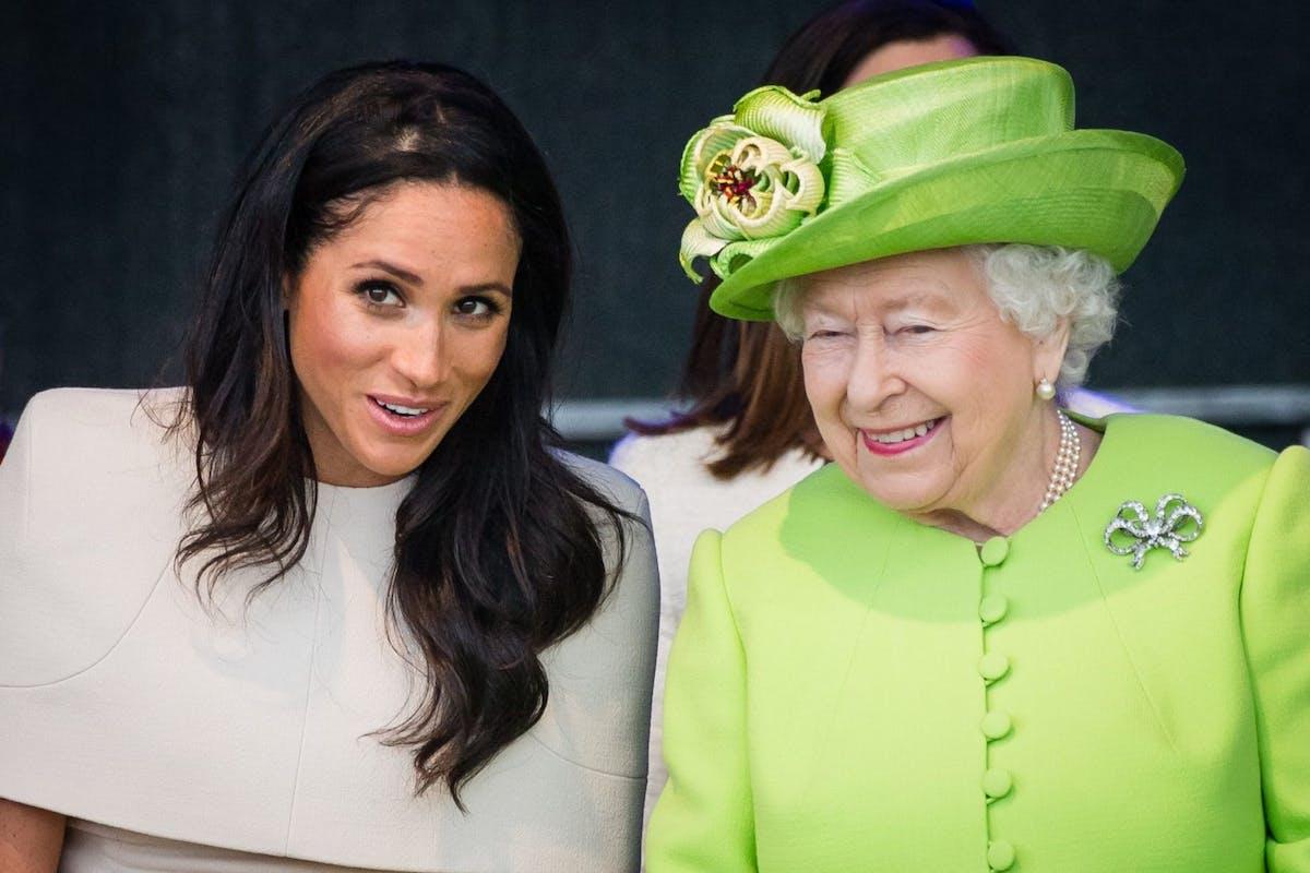 WIDNESS, ENGLAND - JUNE 14: Meghan, Duchess of Sussex and Queen Elizabeth II open the new Mersey Gateway Bridge on June 14, 2018 in Widness, England. (Photo by Samir Hussein/Samir Hussein/WireImage)