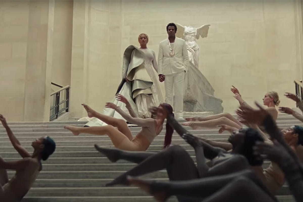 Beyoncé and Jay Z in their new music video for Apeshit filmed in the Louvre