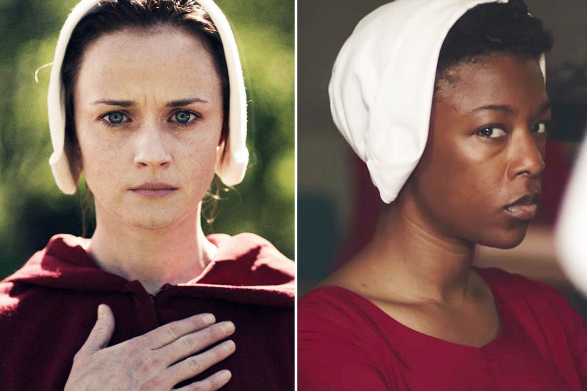 Alexis Bledel and Samira Wiley in The Handmaid's Tale