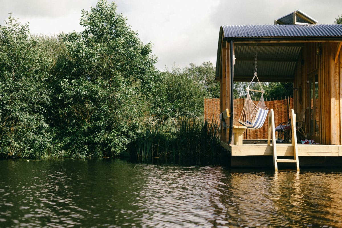 One of Dragonfly Camping's floating glamping eco-cabins in Pembrokeshire, Wales