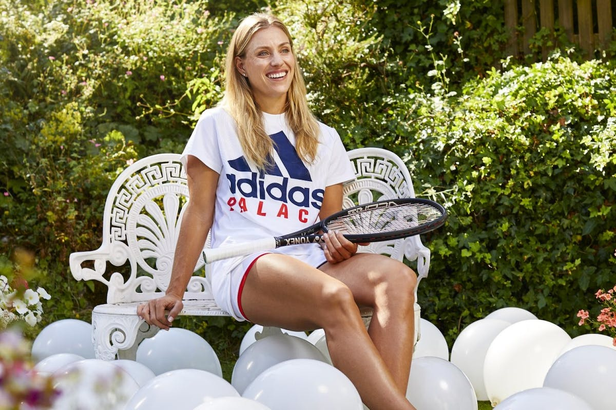 Wimbledon 2018 champion Angelique Kerber wears adidas x Palace whilst sat in a garden.