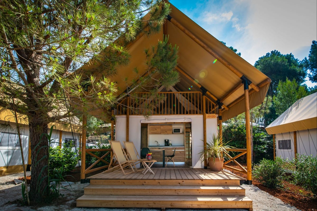 A glamping tent at Arena One 99 in Pomer, Croatia on the Istrian coast