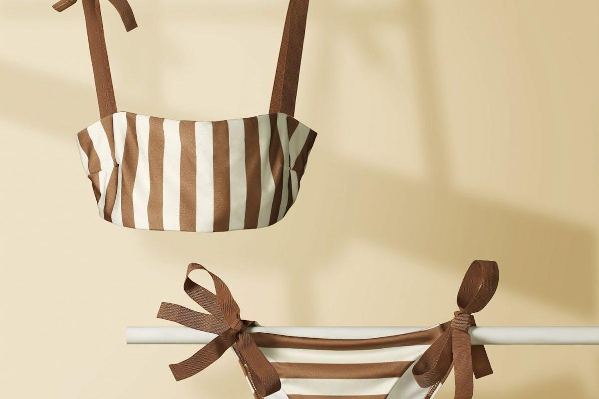 Striped zimmerman designer bikini two-piece swimwear holiday wardrobe fashion accessories