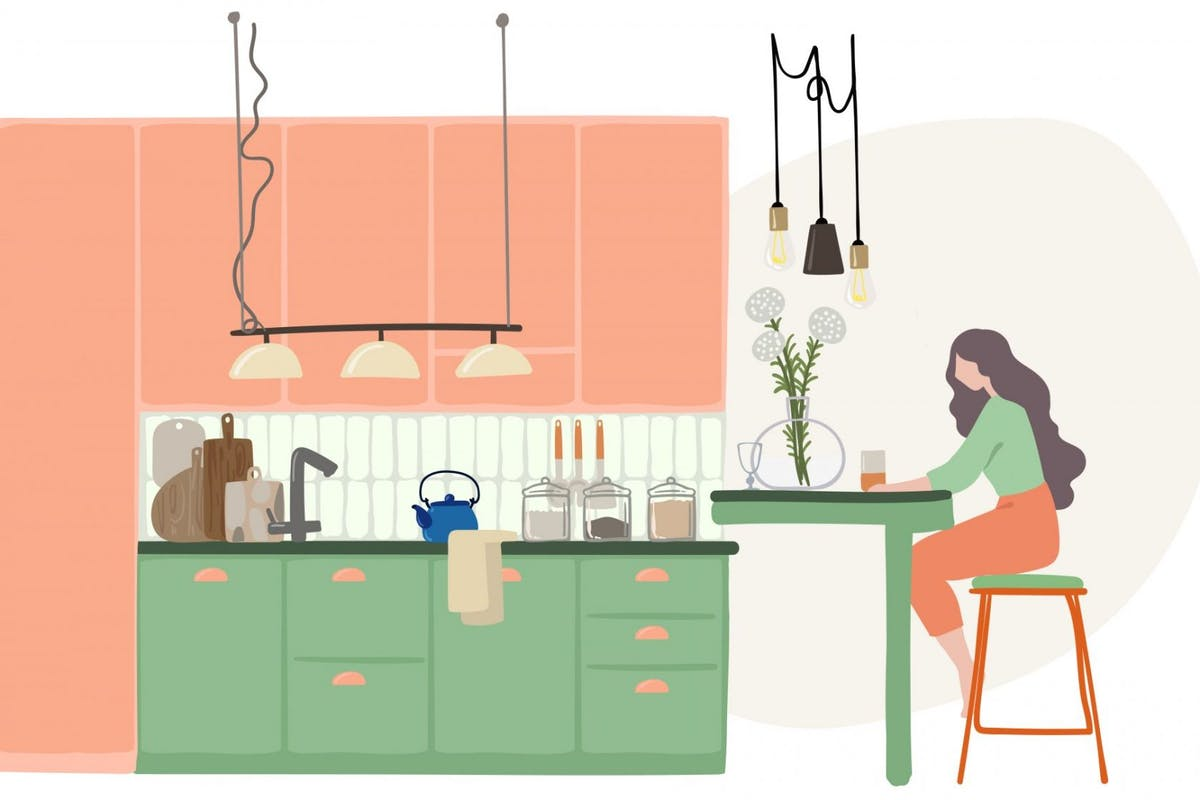 Vector drawing of woman sitting in the kitchen, stay at home concept - stock illustration