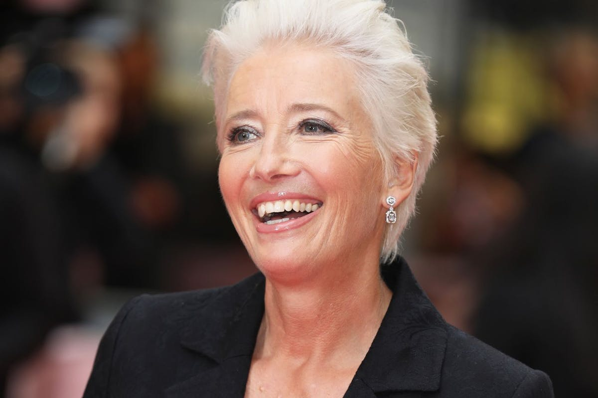 Emma Thompson with short silver pixie cut