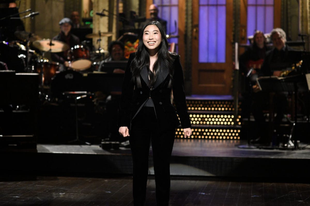 SATURDAY NIGHT LIVE -- 'Awkwafina' Episode 1748 -- Pictured: Host Awkwafina during the opening monologue in Studio 8H on Saturday, October 6, 2018 -- (Photo by: Will Heath/NBC)