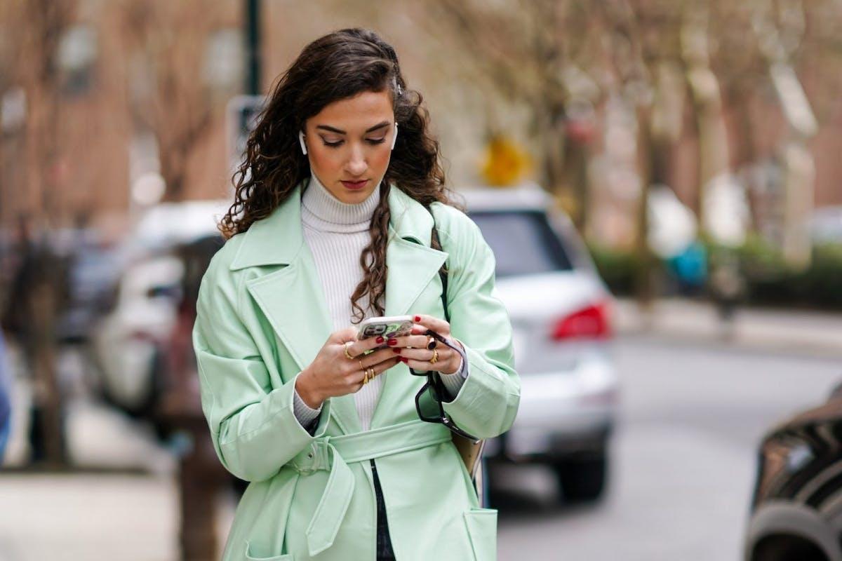 Street style wearing mint jacket