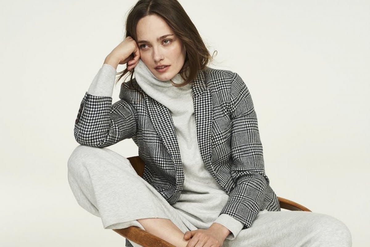 Boden cashmere roll-neck jumper grey knit high street cosy fashion style loungewear casualwear blazer trainers model