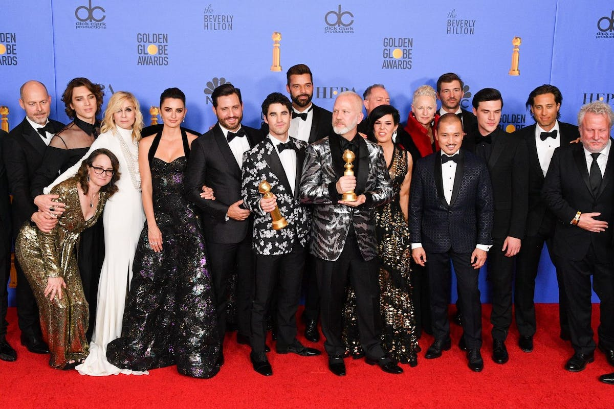 BEVERLY HILLS, CALIFORNIA - JANUARY 06: Outstanding Limited Series award for 'The Assassination of Gianni Versace: American Crime Story' winners, (3rd from L-R) Cody Fern, Judith Light, Penelope Cruz, Edgar Ramirez, Darren Criss, Ricky Martin, Ryan Murphy, Alexis Martin Woodall, (4th from L) Jon Jon Briones, Finn Wittrock, cast and crew pose in the press room during the 75th Annual Golden Globe Awards held at The Beverly Hilton Hotel on January 06, 2019 in Beverly Hills, California. (Photo by George Pimentel/WireImage,)