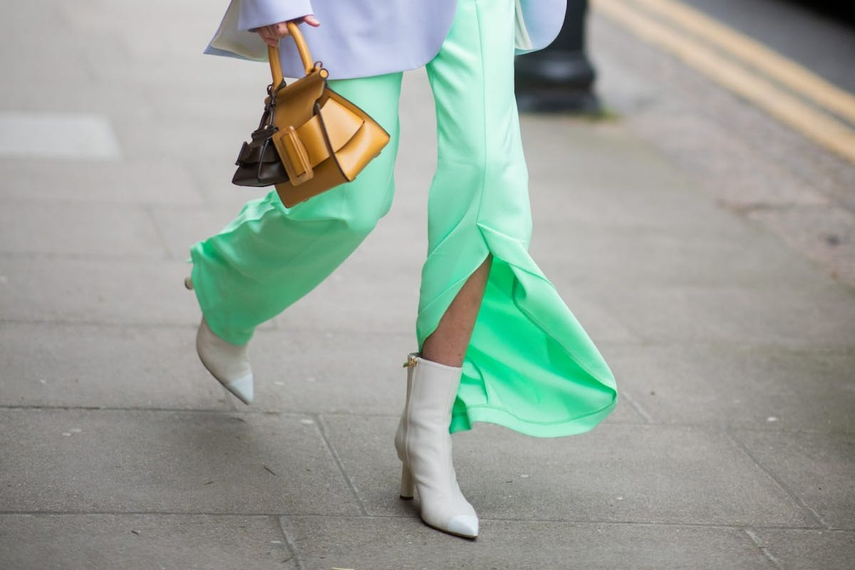 Street style image of slit trousers