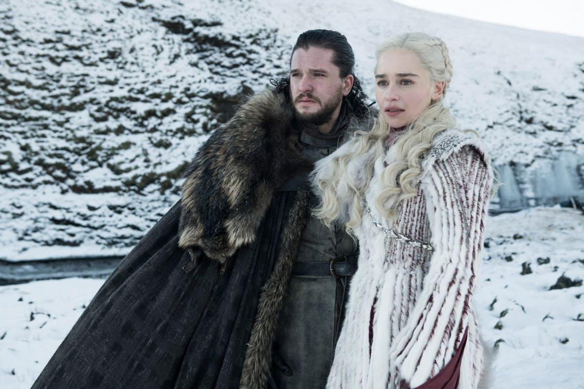 Kit Harington and Emilia Clarke as Jon Snow and Daenerys Targaryen in Game of Thrones season 8
