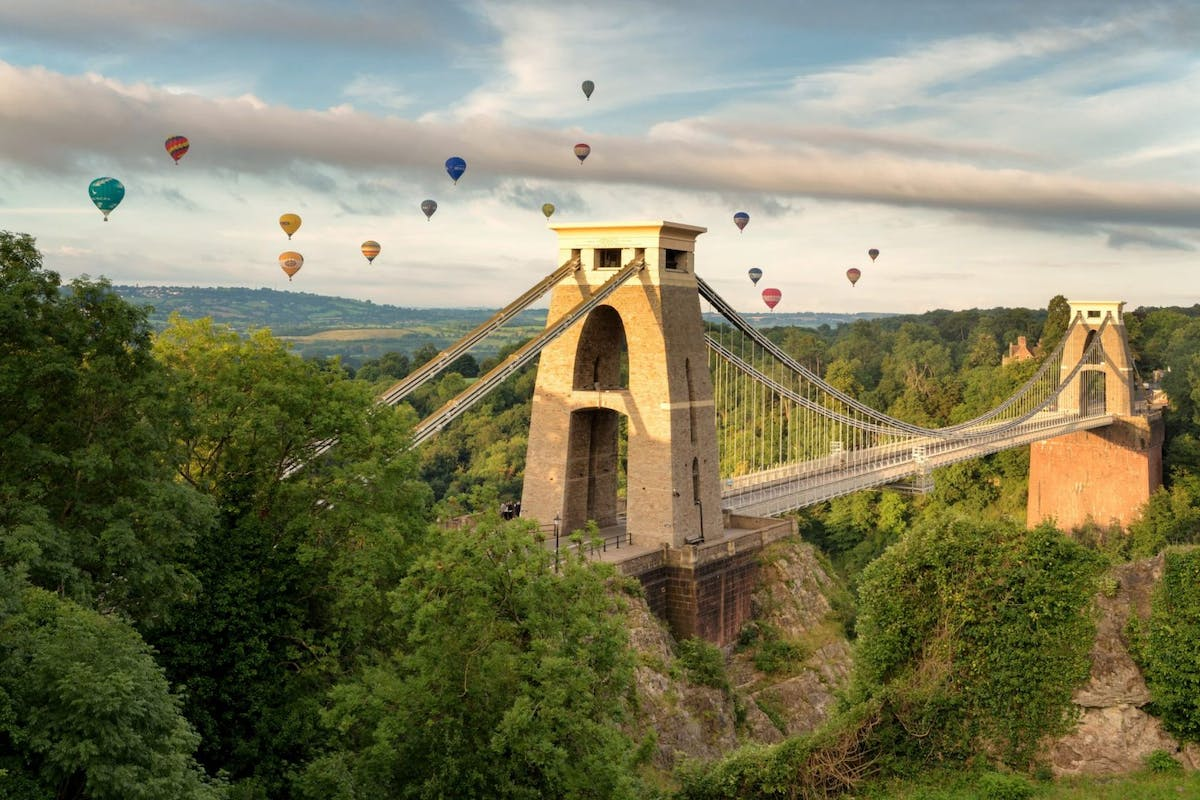 Bristol's Clifton Suspension Bridge with hot air balloons