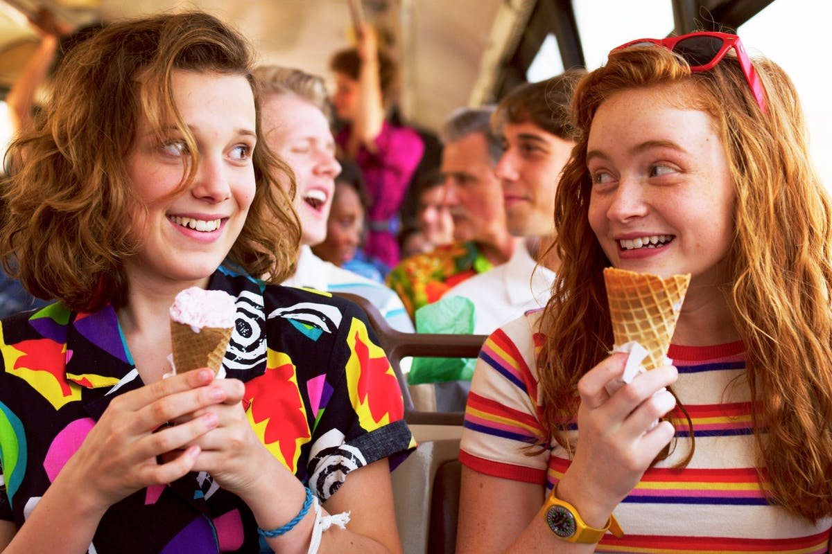 Millie Bobby Brown and Sadie Sink in a scene from Stranger Things season 3