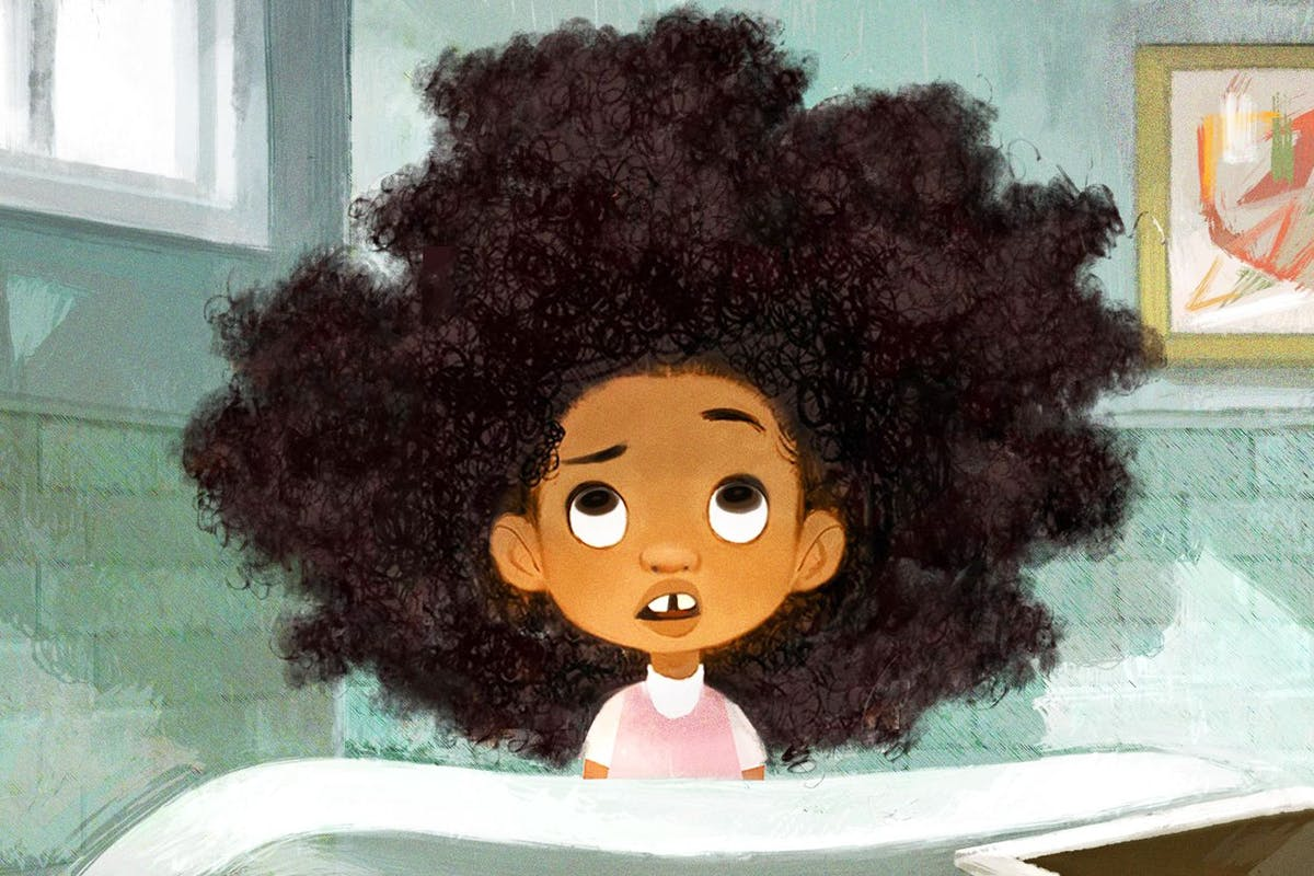 cute illustration of little girl with big afro