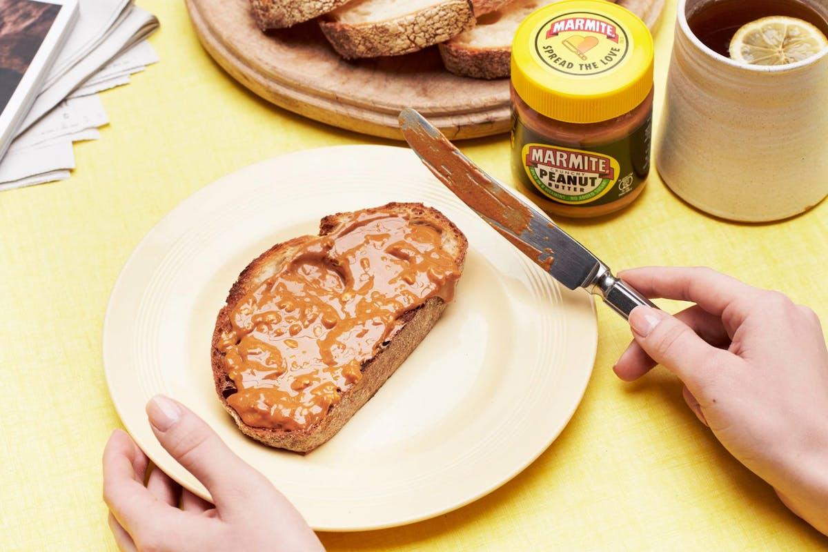 Marmite peanut butter spread on toast