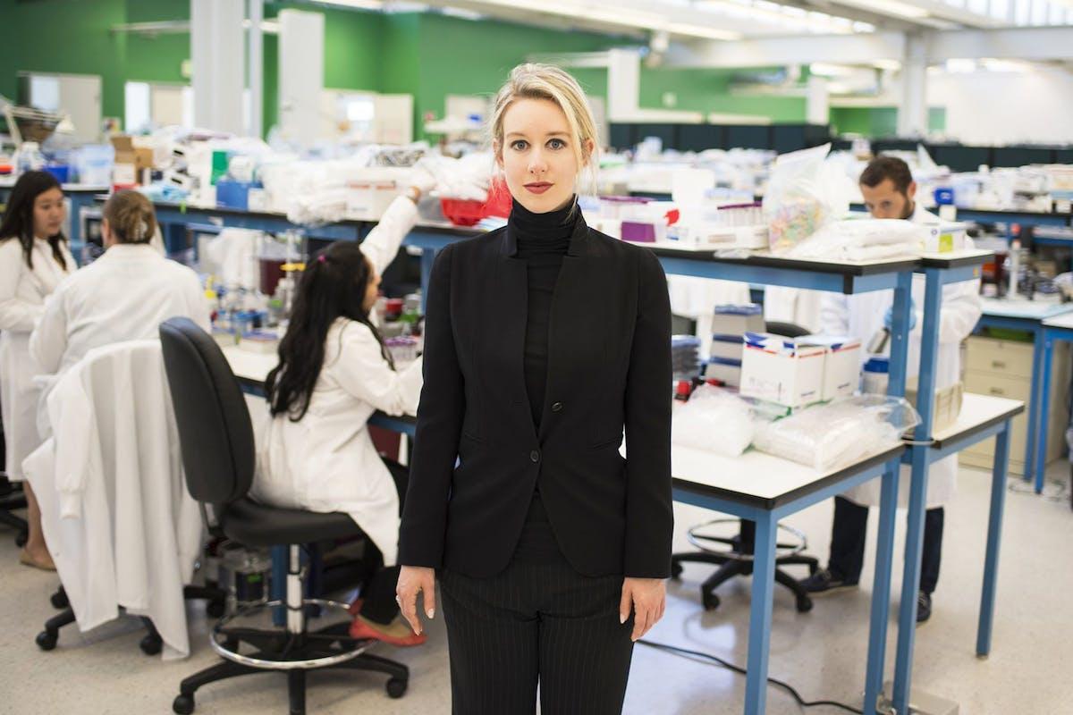 Elizabeth Holmes in the Theranos lab