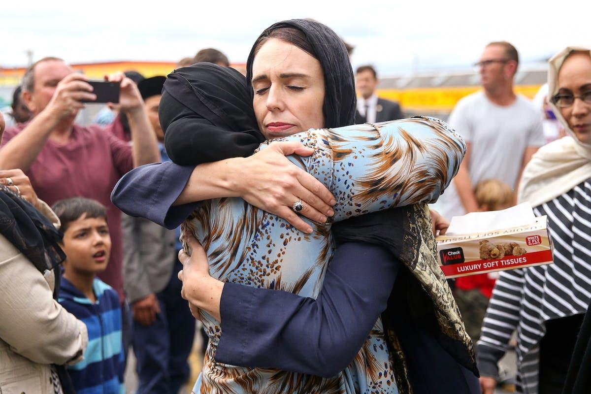 Jacinda Ardern embraces woman after Christchurch attack