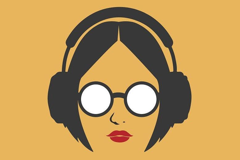 An illustration of a woman listening to a podcast