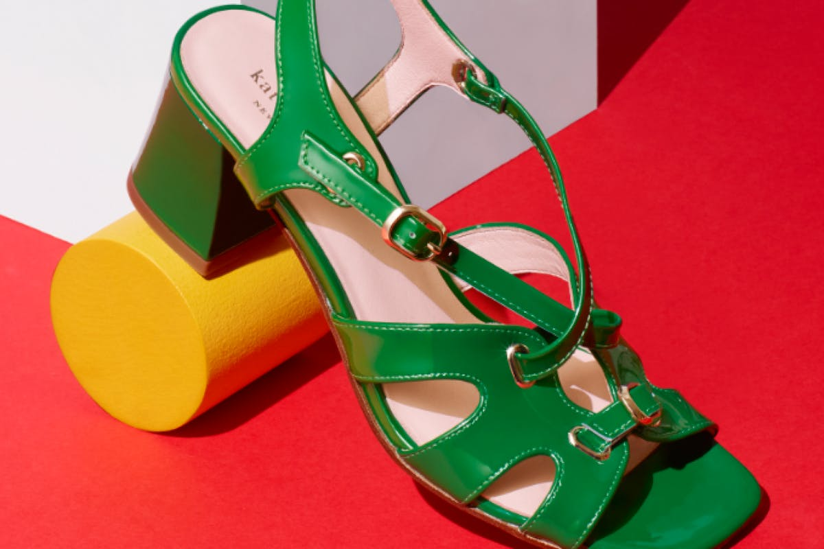 green chunky heeled patent sixties sandals