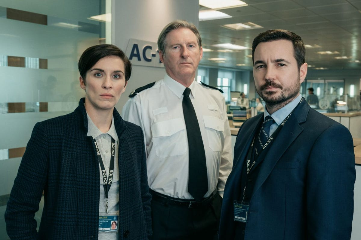 Vicky McClure, Adrian Dunbar and Martin Compston in the TV drama series Line of Duty