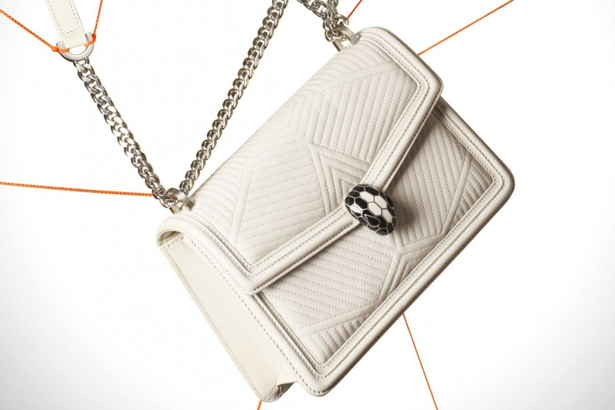 Bulgari White Leather Diamond Serpenti bag