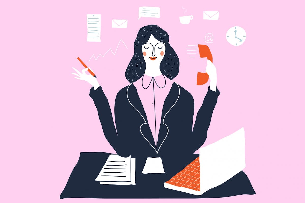 Busy woman illustration