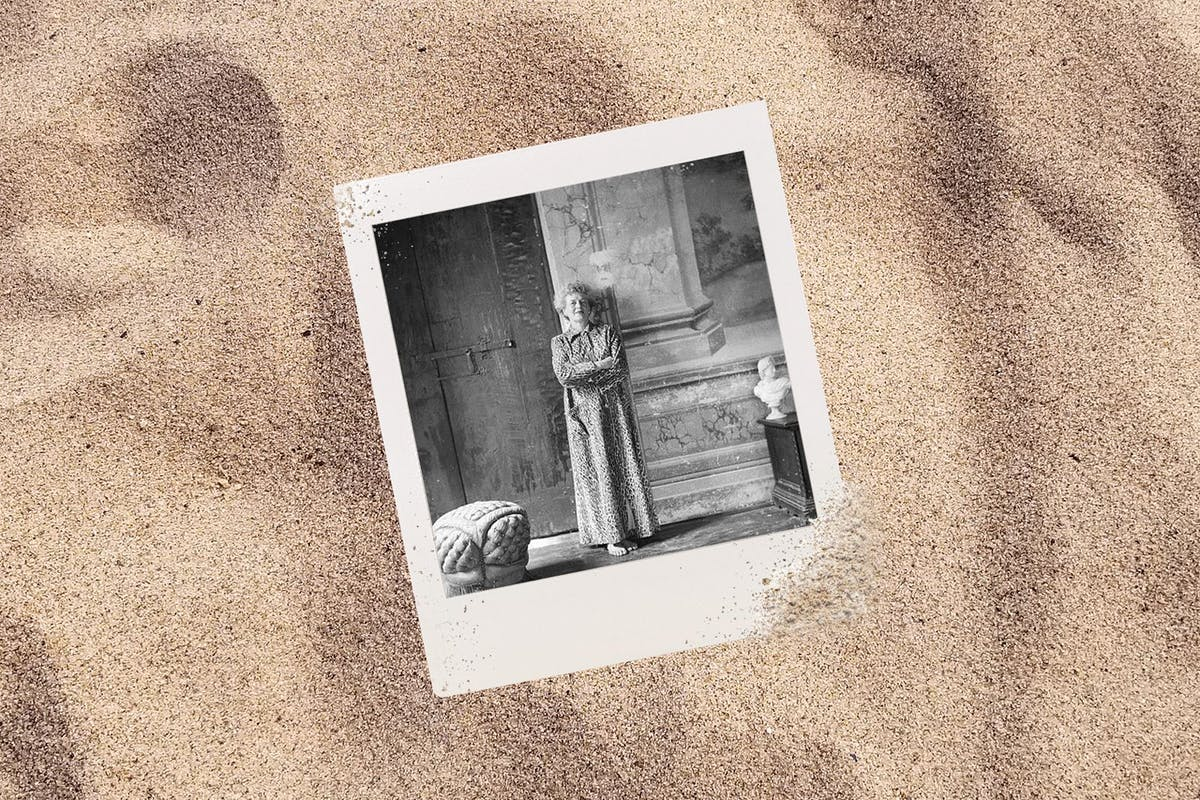 photo of grandmother in the sand