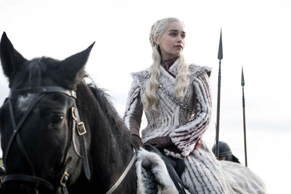 Emilia Clarke as Daenerys Targaryen in Game of Thrones season 8 episode 2