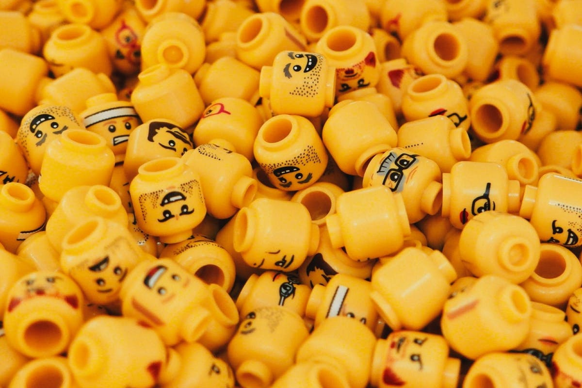 Assortment of male lego heads
