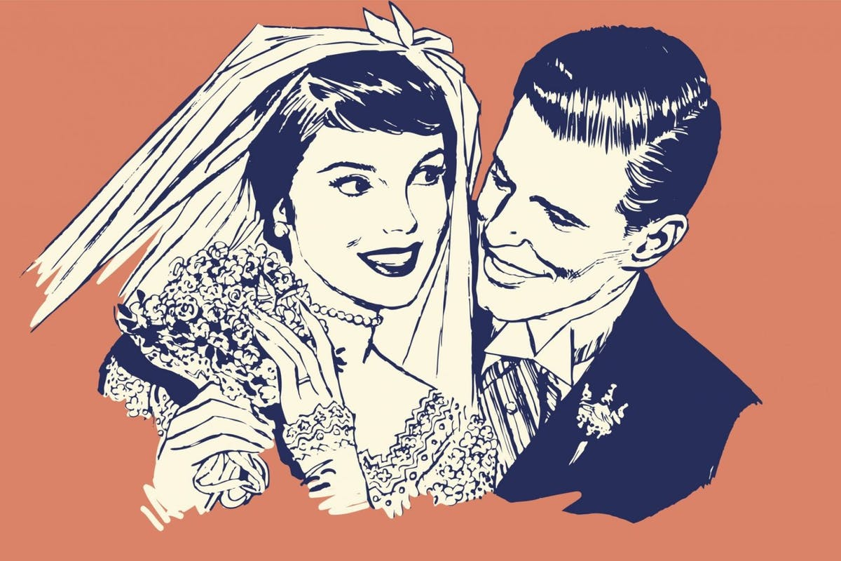 An illustration of a couple getting married