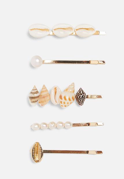 Lot de 5 Zara Pearl Moules Clips Cheveux Diapositives épingles