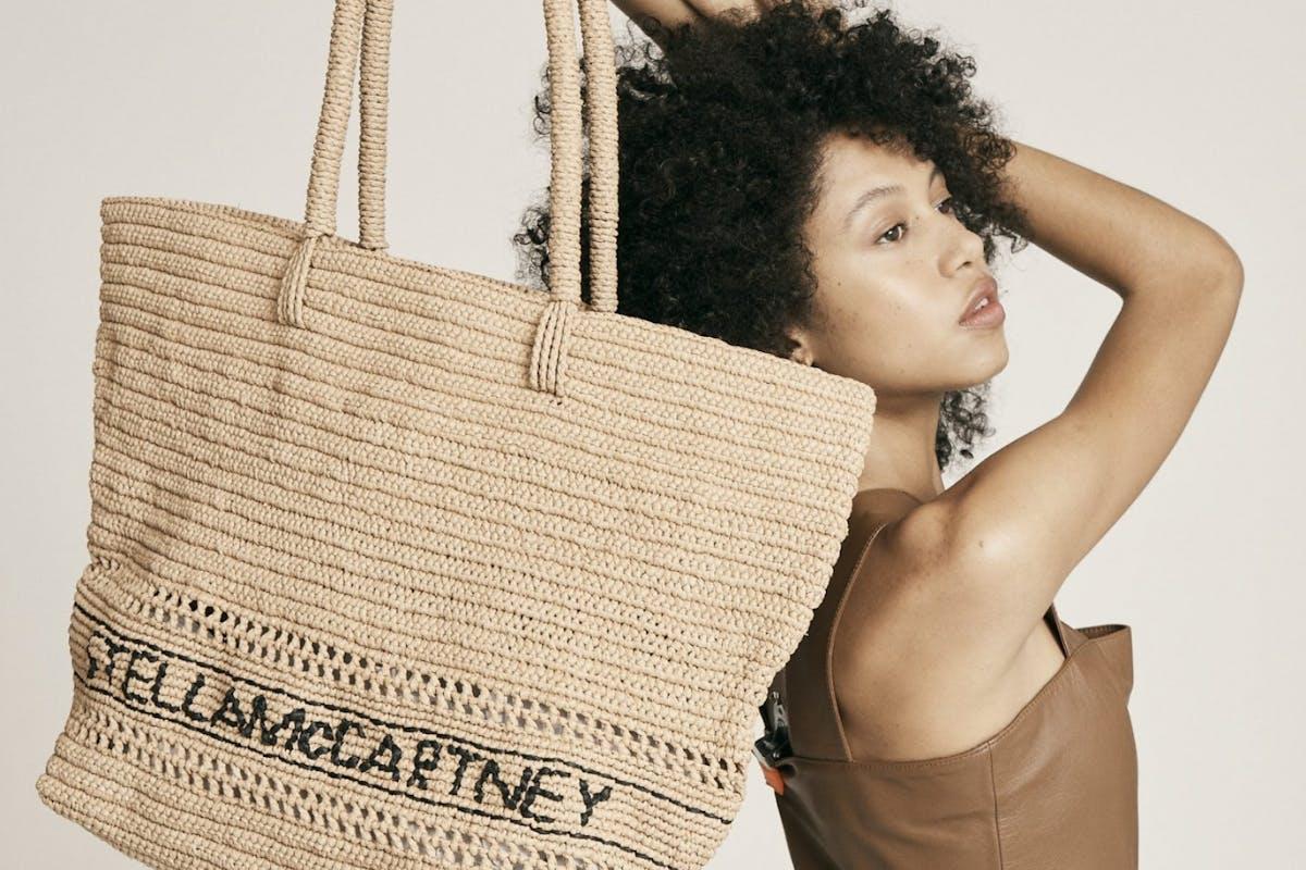 Stella McCartney Straw bag with logo luxury designer handbags accessories fashion shopping style investment summer