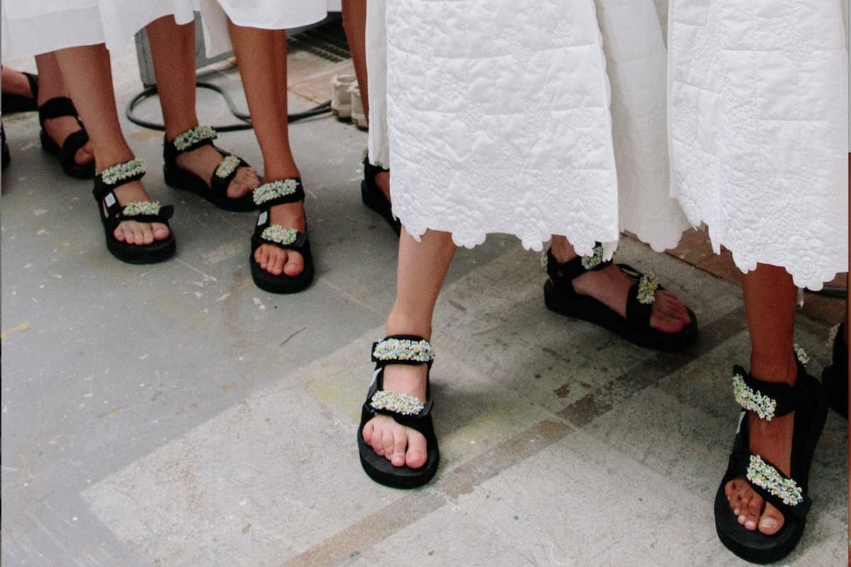 cecilie bahnsen spring summer 19 shoe image jewelled dad sandals copenhagen fashion week