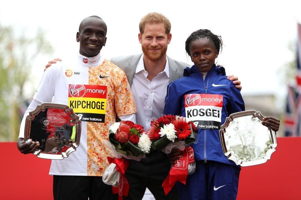Kipchoge, Kosgei and Prince Harry