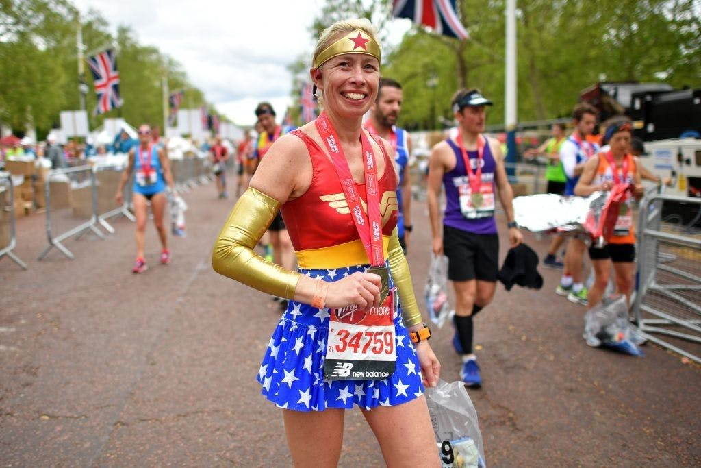A woman competing in the London Marathon 2019