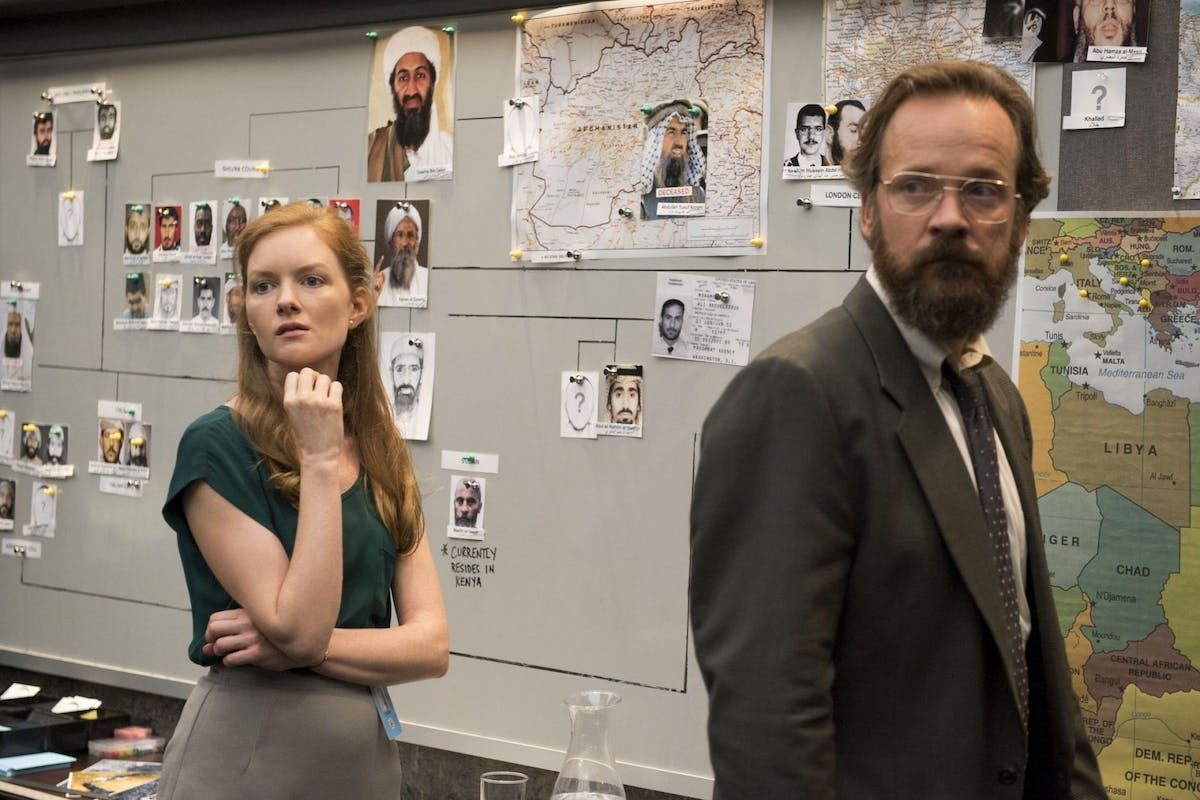Wrenn Schmidt and Peter Sargsgaard in the BBC thriller The Looming Tower