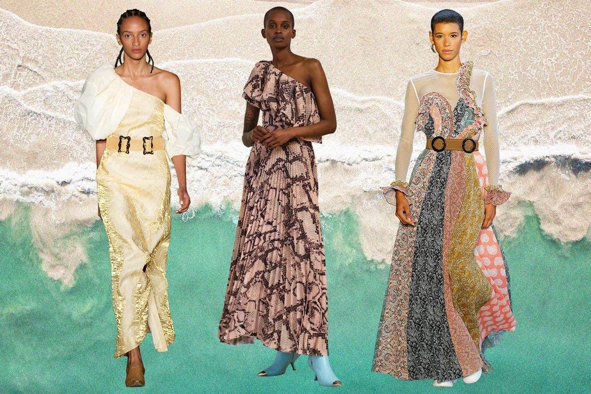 One-shoulder dresses will take through summer into autumn.