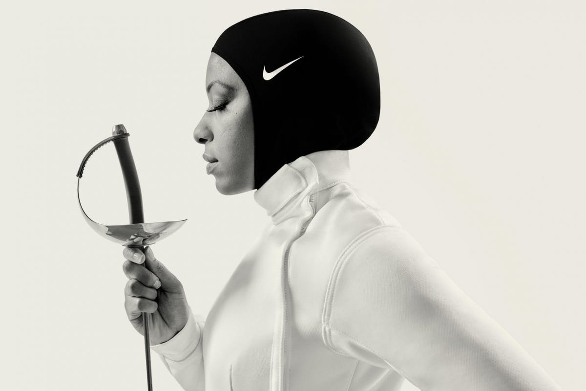 Fencer Ibtihaj Muhammad in the Nike Pro Hijab.